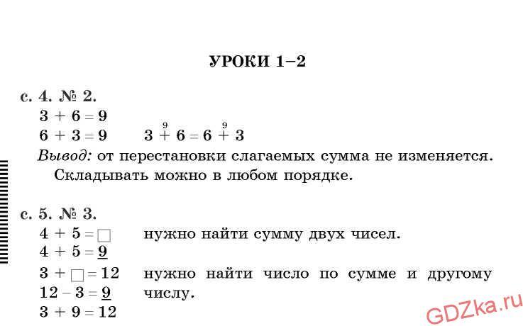 МАТЕМАТИКА Решение упражнений к учебнику В. Н. Рудницкой уроки 1-2